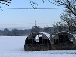 Snow covered huts