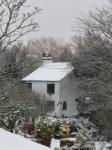 Snow on building
